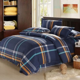 Aix Navy Check Bed Linen (LJ17107)