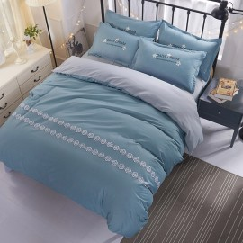 Aix Rose Pattern Blue Bed Linen (XJJ17006)
