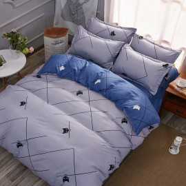 Aix Cat And Lines Grey Bed Linen (XJJ17014)