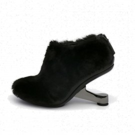 Jady Rose Fluffy Fur Zipper Design Heeled Ankle Black Boots (17DR10290)