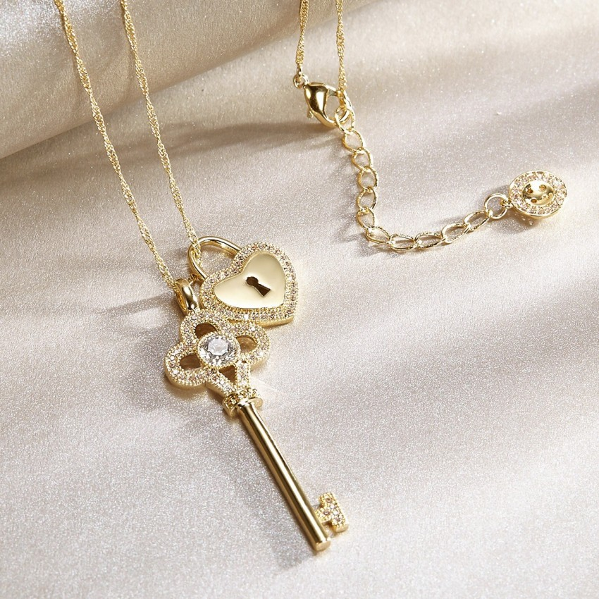 Seventy 6 a floral key lock gold long chain 7296 0cm seventy 6 a floral key lock gold long chain 7296 aloadofball Image collections