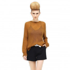 Cocobella See Through Loose Fit Hip Length Jumper Camel Knit (YN345)