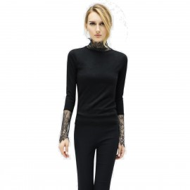 Cocobella Lace Turtle Neck And Sleeves Black Knit (YN357)
