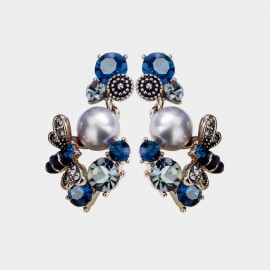 Caromay Bee With Flowers Blue Earrings (E3278)