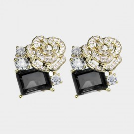 Caromay Rosy Cloud Black Earrings (E3282)