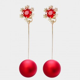 Caromay Double Happiness Red Tassle Earrings (E3340)