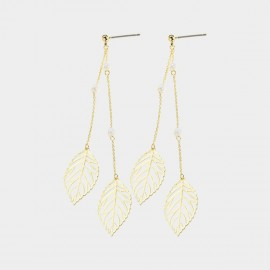 Caromay Flowing Mapple Champagne Gold Earrings (E3371)