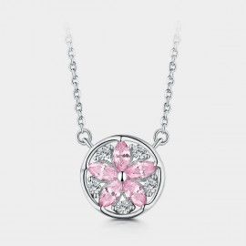 Seventy 6 Spring Cherry Blossom Pink Necklace (B2555)