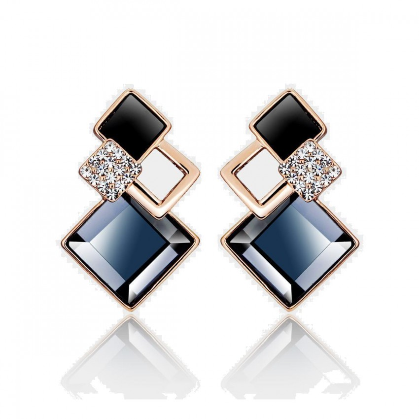 Caromay Rhombus Crystal Blue Earrings (E0102)