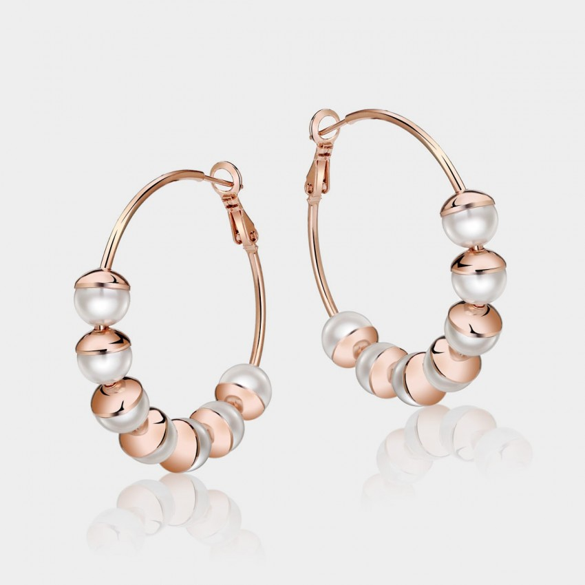 Caromay Pearl Moon Rose Gold Earrings (E0192)