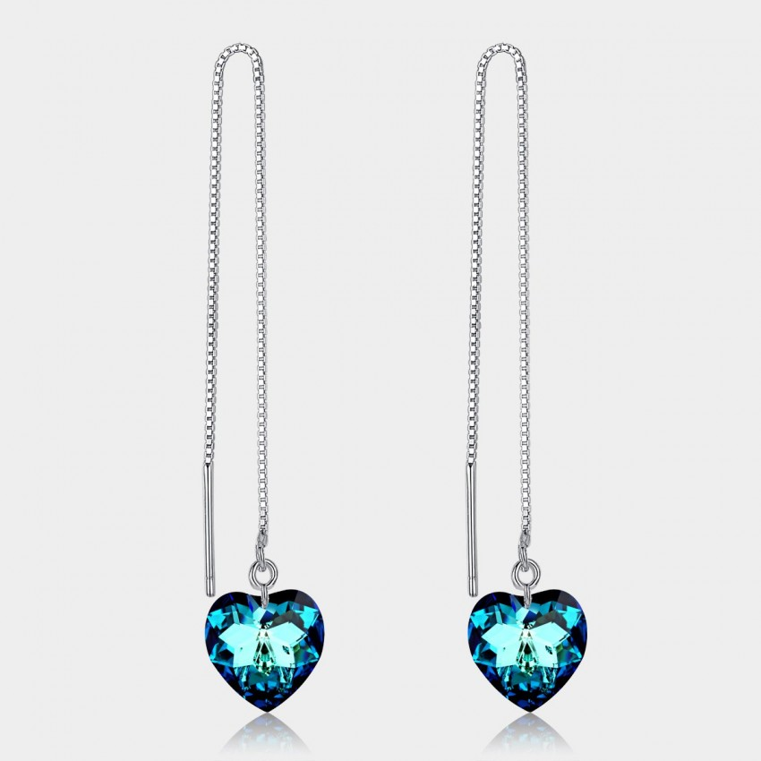 Caromay Long Heart of Sea Sapphire Earrings (E0425)