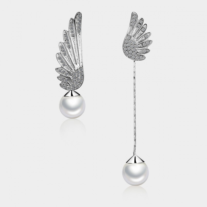 Caromay Uneven Angle Wings Silver Earrings (E0531)
