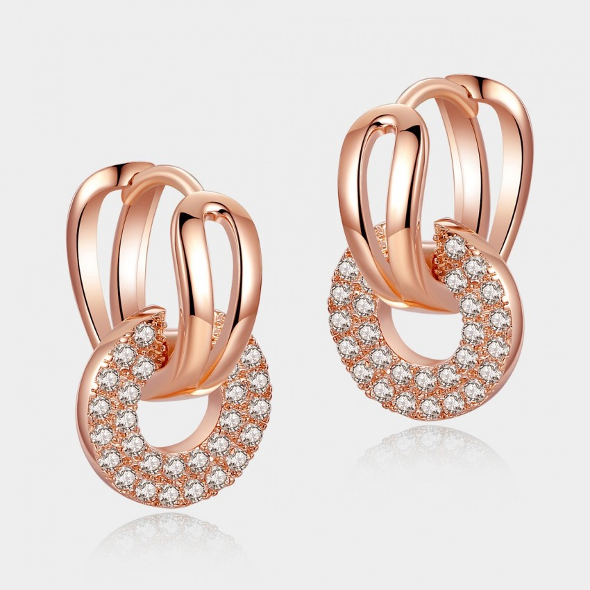 Caromay Gripping Love Rose Gold Round Earrings (E0565)