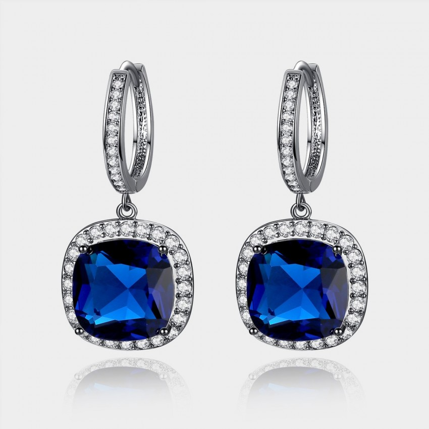 Caromay Crystal Plate Sapphire Earrings (E0568)