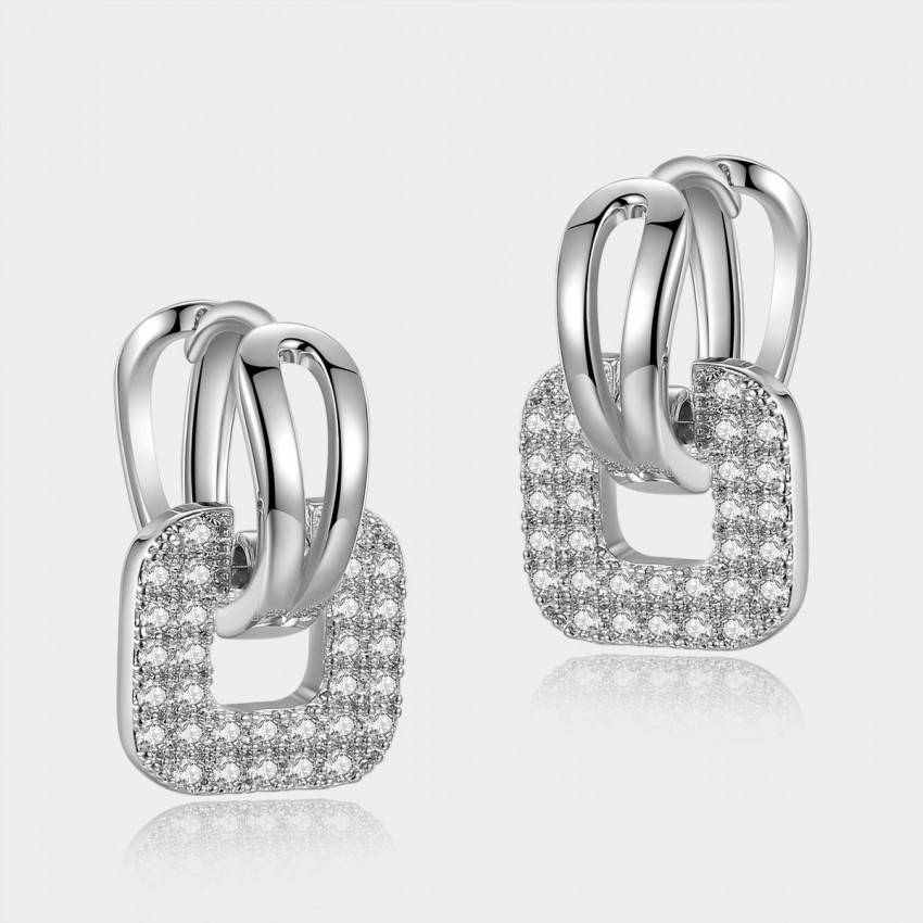 Caromay Gripping Love Silver Square Earrings (E0589)