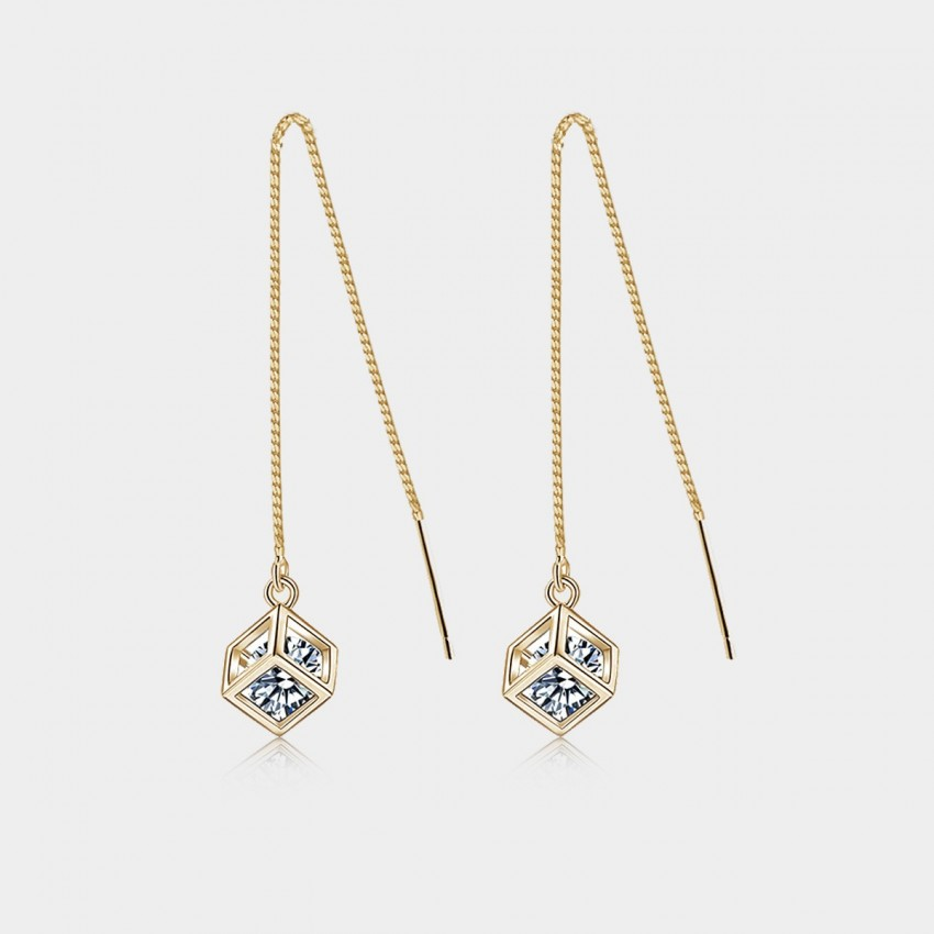 Caromay Happy Dice Champagne Gold Earrings (E0599)