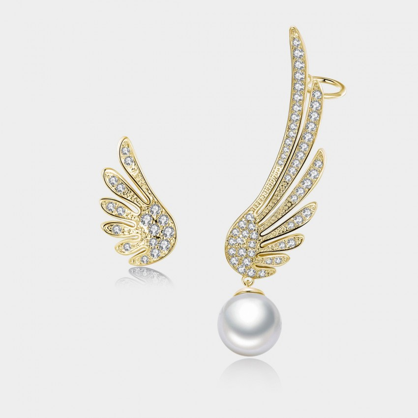 Caromay Uneven Angel Wings Champagne Gold Earrings (E0649)