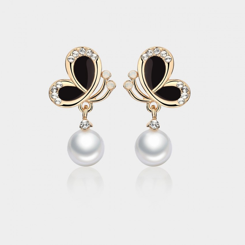 Caromay Butterfly Shadow Pearl Black Earrings (E1209)