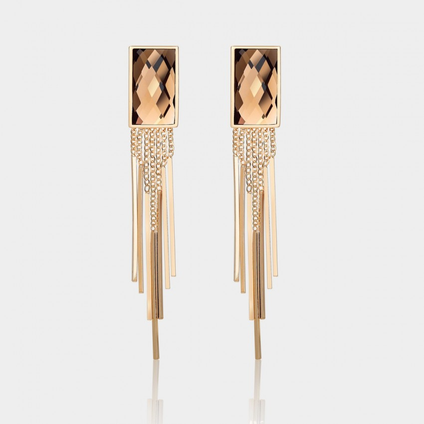 Caromay Tassle Crystal Champagne Gold Earrings (E1253)