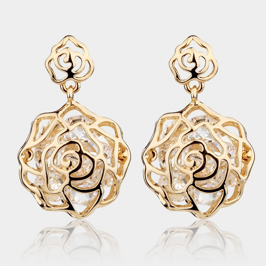 Caromay Crystal Rose Champagne Gold Earrings (E3780)