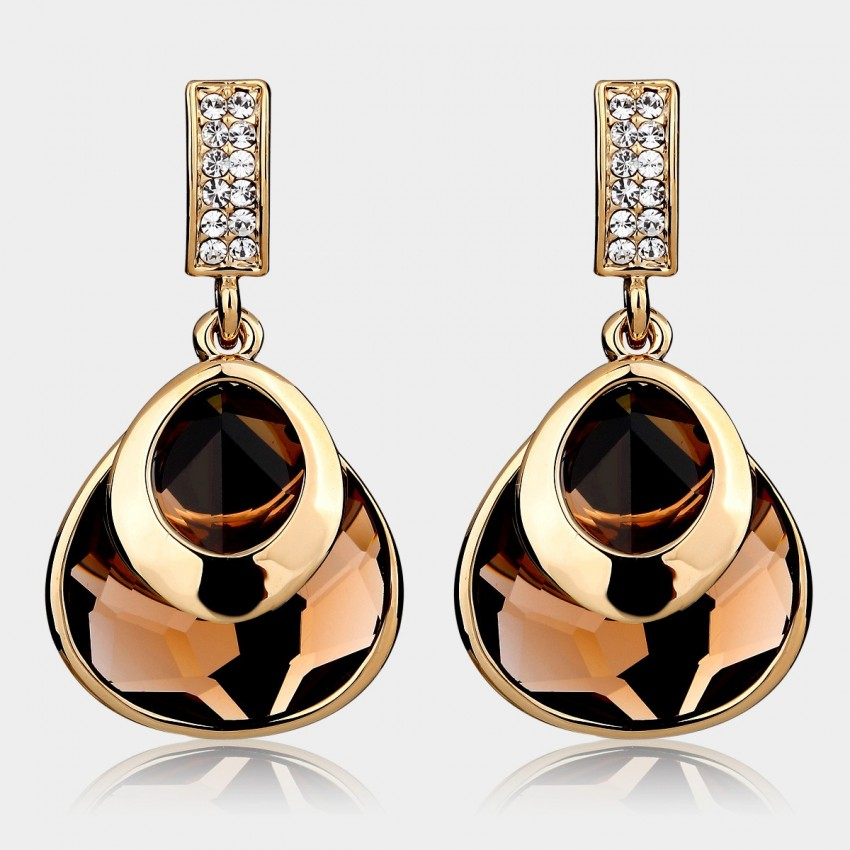 Caromay Graceful Crystal Champagne Gold Earrings (E3893)