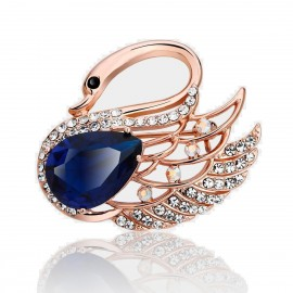 Caromay Swimming Swan Sapphire Brooch (T0128)