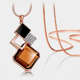 Caromay Rhombus Crystal Champagne Gold Long Chain (X0101)