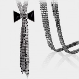 Caromay Sequinned Bowtie Black Long Chain (X0236)