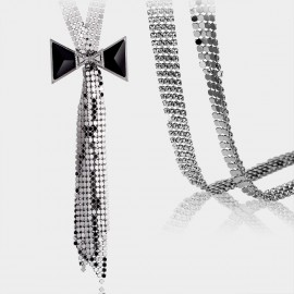 Caromay Sequinned Bowtie Silver Long Chain (X0236)