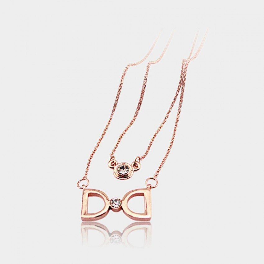 Caromay Double D Ribbon Rose Gold Necklace (X0310)