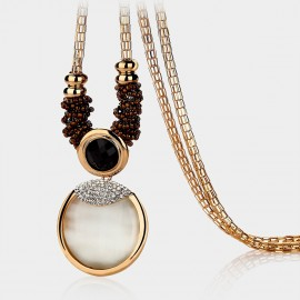 Caromay Cystal Disc Black Long Chain (X0314)