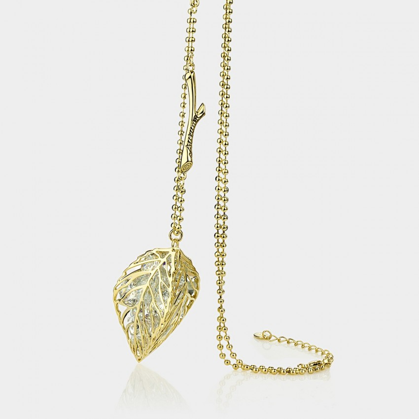 Caromay Hollow Maple Leaf Champagne Gold Long Chain (X0331)