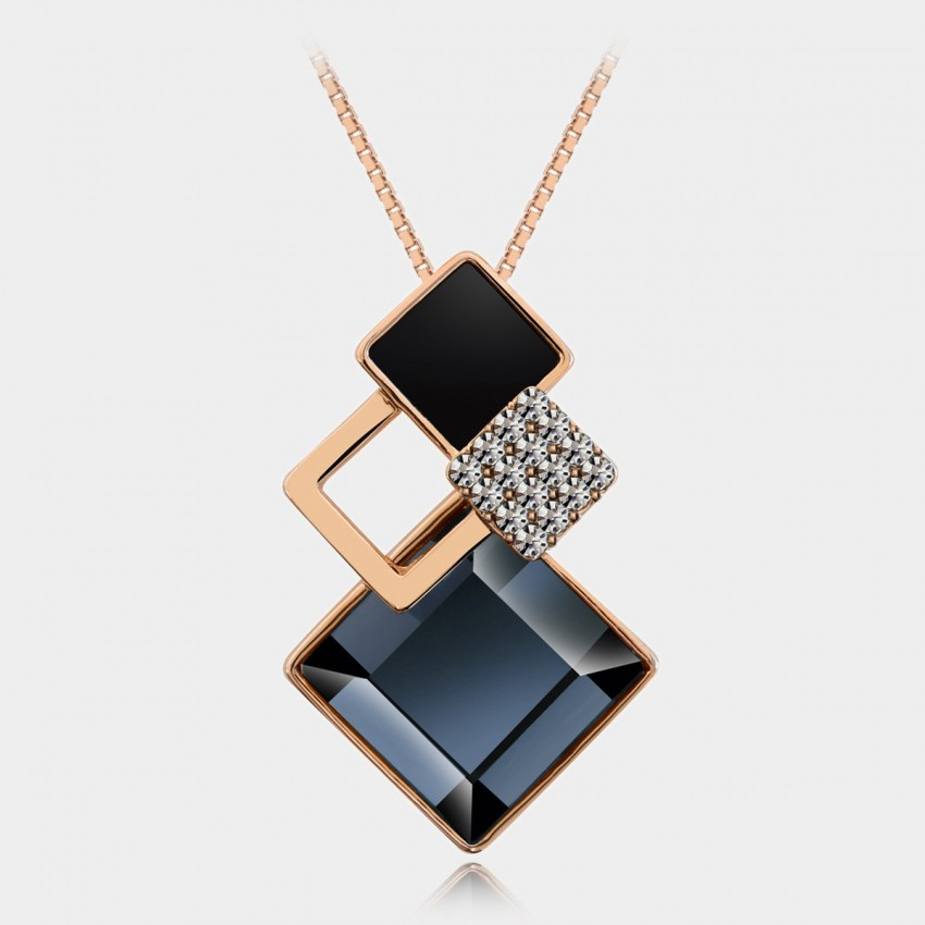 Caromay Rhombus Crystal Blue Necklace (X0443)