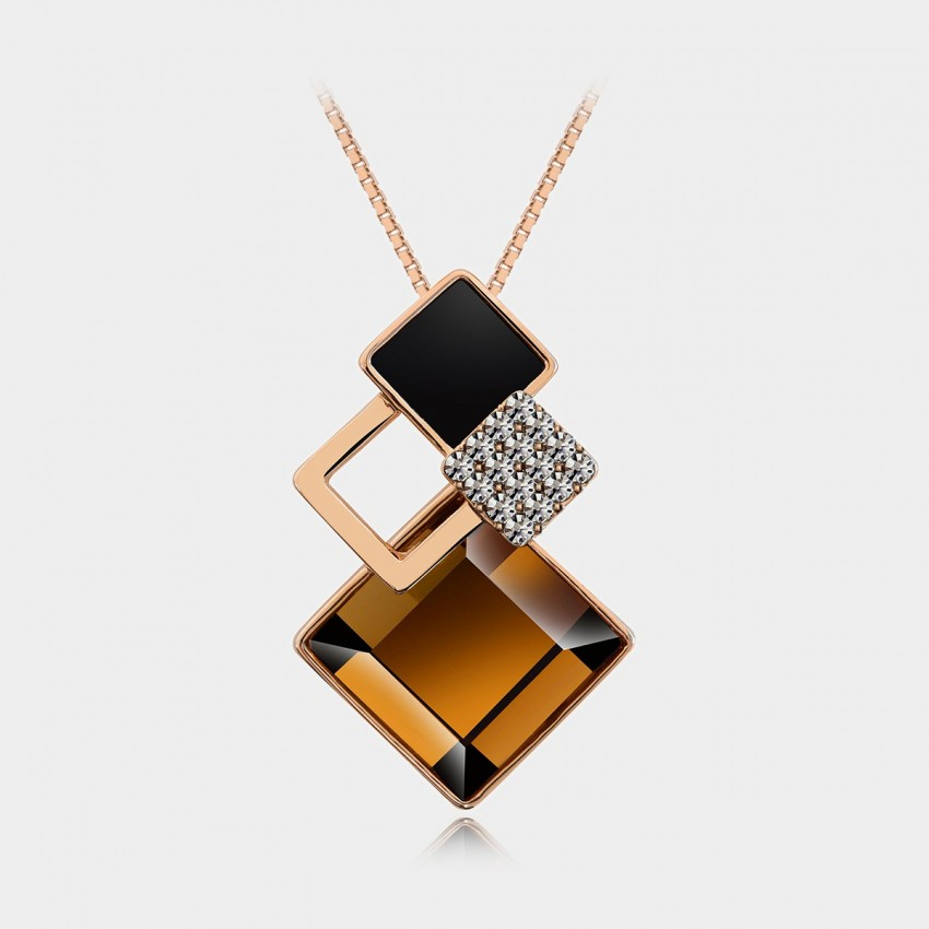 Caromay Rhombus Crystal Champagne Gold Necklace (X0443)