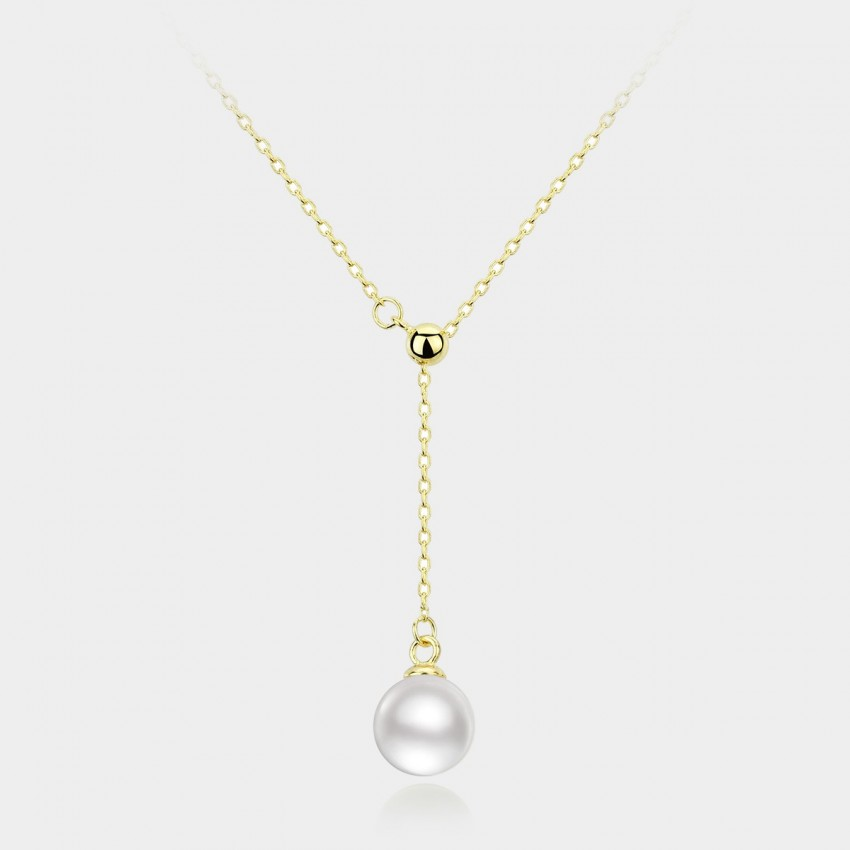 Caromay Adjustable Pearl Drop Champagne Gold Necklace (X0449)