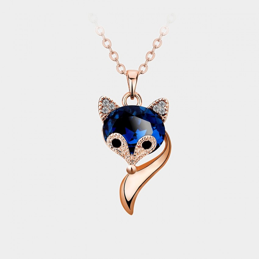 Caromay Crystal Fox Rose Gold Necklace (X0481)