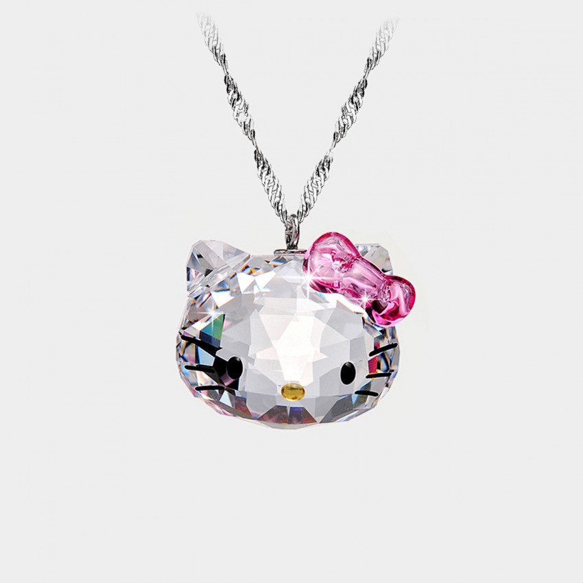 Caromay Crystal Kitty Silver Necklace (X0482)