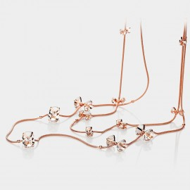 Caromay Ribbon Crystal Rose Gold Long Chain (X0813)