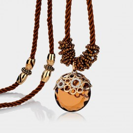 Caromay Crystal Mirror Champagne Gold Long Chain (X1033)