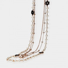Caromay Flower Pearl Key Black White Long Chain (X1068)