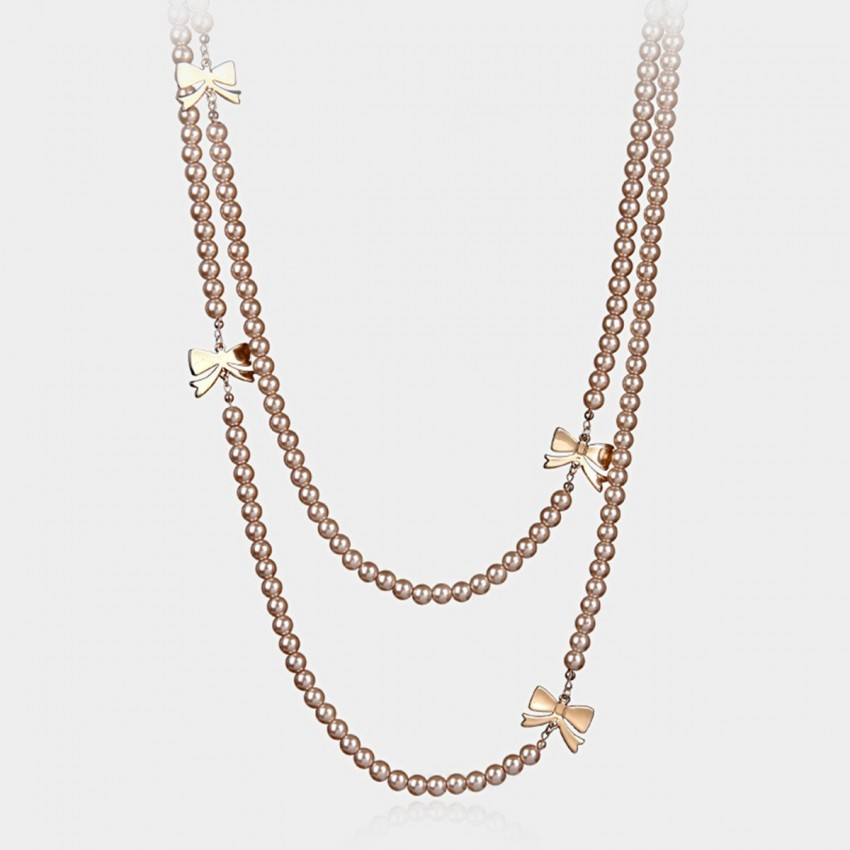 Caromay Ribbon Pearl Brown Long Chain (X3635)