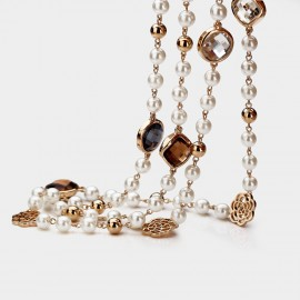 Caromay Pearl Curtains Champagne Gold Long Chain (X3648)